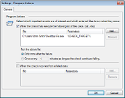 Run an executable, batch job or script upon failure detection